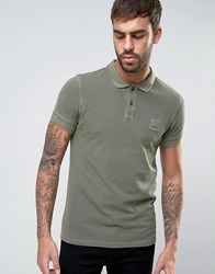 Boss Orange By Hugo Slim Polo Washed Pique In Green Green