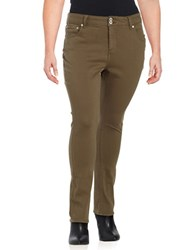 Lucky Brand Plus Emma Solid Five Pocket Pants Green