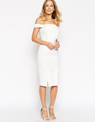 Asos Pencil Dress In Texture With Off Shoulder Tab Detail Ivory