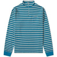 Tres Bien Stripe Half Zip Sweat Blue