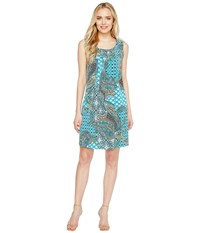 Christin Michaels Kelly Sleeveless Printed Shift Dress Teal Women's Dress Blue