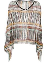 Missoni Knitted Poncho Top Brown