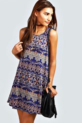 Boohoo Paisley Swing Dress Blue