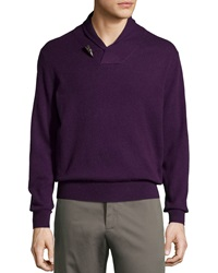 Neiman Marcus Cashmere Shawl Collar Toggle Sweater Persian Pl
