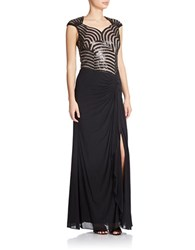 Decode 1.8 Sequined Bodice Gown Black Nude
