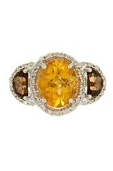 Phillip Gavriel Oval Citrine Smokey Quartz And White Diamond Fancy Ring Yellow