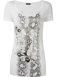 Roberto Cavalli Snake And Floral Print T Shirt White