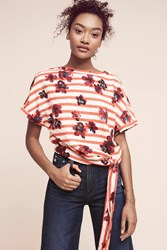 Anthropologie Striped Floral Sweatshirt Red Motif