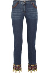Etro Embellished Embroidered Mid Rise Slim Leg Jeans Blue