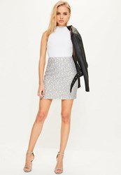 Missguided Grey Bonded Lace Zip Back A Line Mini Skirt