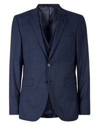 Jaeger Men's Slim Super 130 S Plainweave Jacket Blue