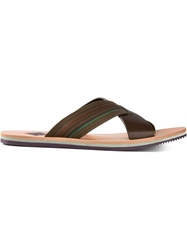 Paul Smith 'Kohoutek' Crossed Straps Sandals Brown