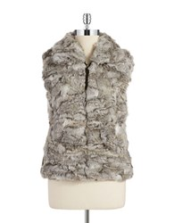 Surell Rabbit Fur Vest Chinchilla Grey