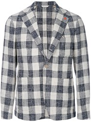 Manuel Ritz Checked Casual Blazer Blue
