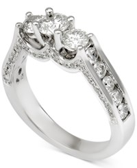 Macy's Diamond Three Stone Channel Set Engagement Ring 1 1 2 Ct. T.W. In 14K White Gold