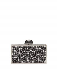 Judith Leiber Perfect Rectangle Pearly Crystal Clutch Bag Gray