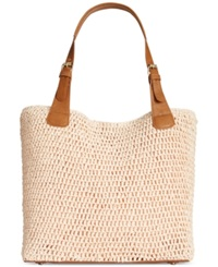 Straw Studios Straw Buckle Strap Tote Rose