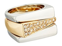 Guess Triangular Band Trio Ring Set Silver Gold Crystal Ring