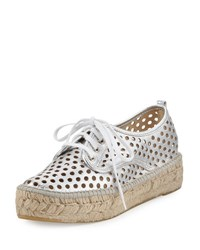 Loeffler Randall Alfie Perforated Leather Espadrille Sneaker Silver