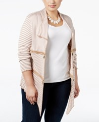 Belldini Plus Size Zip Trim Striped Cardigan Tan White