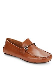 Saks Fifth Avenue Leather Moc Toe Loafers Cognac