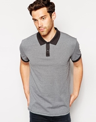 Esprit Dogtooth Polo Shirt With Contrast Collar Grey071