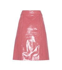 Bottega Veneta Venko Leather Skirt Pink