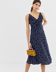 Finders Keepers Strappy Midi Dress In Ditsy Print Blue