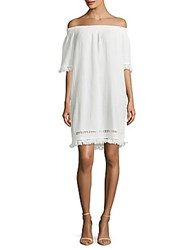 Beach Lunch Lounge Cotton Off The Shoulder Dress White