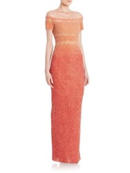 Pamella Roland Ombre Silk Gown Light Poppy