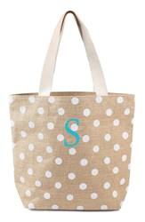 Cathy's Concepts Personalized Polka Dot Jute Tote White White S
