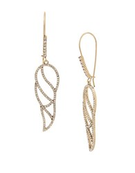 Betsey Johnson Crystal Cutout Feather Ear Wires Gold