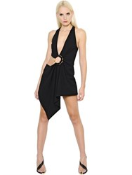 Anthony Vaccarello Piercing Asymmetrical Wool Twill Romper