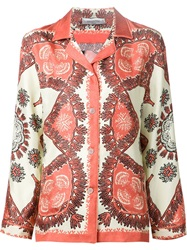 Valentino Coral And Shell Print Shirt Yellow And Orange