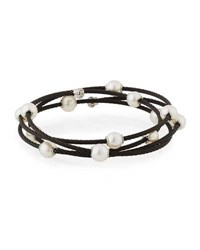 Alor Cable Wrap Bangle W Freshwater Pearls Black