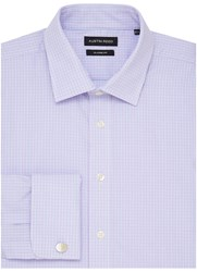 Austin Reed City Classic Fit Tramline Check Shirt Lilac