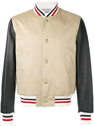 Moncler Gamme Bleu Striped Detail Bomber Jacket Brown