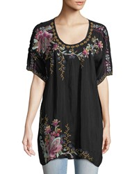 Johnny Was Alyssa Floral Embroidered Long Georgette Tunic Black