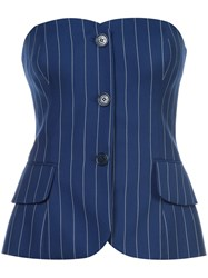 Ralph Lauren Collection Pinstripe Corset Top Blue