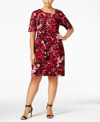 Connected Plus Size Floral Print Faux Wrap Sheath Dress Wine