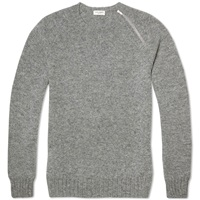 Saint Laurent Single Zip Crew Knit Grey