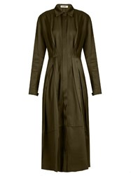 Jil Sander Baobab Gabardine Shirtdress Green