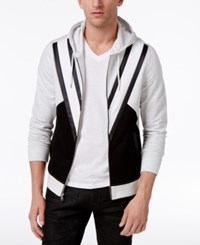 Inc International Concepts Men's Colorblocked Hoodie With Faux Leather Piecing Only At Macy's Grey Heather