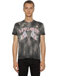 Dsquared Printed And Destroyed Cotton T Shirt Black