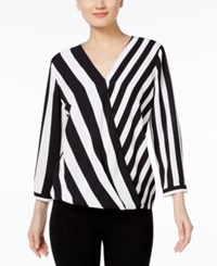 Alfani Striped High Low Blouse Only At Macy's Vertical Bars Black White