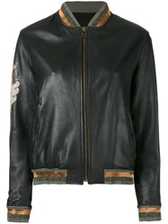 Mr And Mrs Italy Contrast Panel Bomber Jacket Black