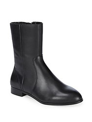 Saks Fifth Avenue Paneled Almond Toe Leather Ankle Boots Black