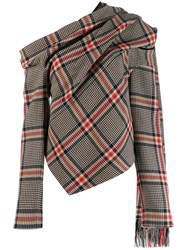 Monse Scarf Detail Asymmetric Plaid Top Neutrals