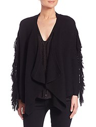 Ramy Brook Jenny Fringe Trim Draped Cardigan Black