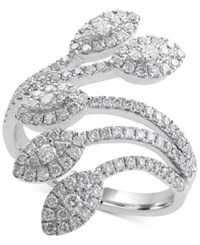 Effy Pave Classica By Diamond Leaf Ring 9 10 Ct. T.W. In 14K White Gold